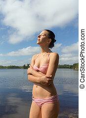 girl in pink bikini