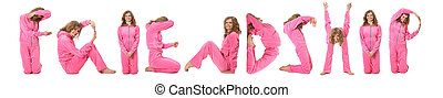 Girl in pink clothes making word FRIENDSHIP, collage
