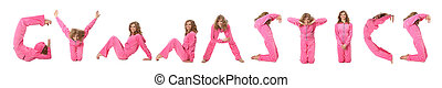 Girl in pink clothes making word GYMNASTICS, collage