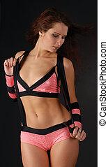 Girl in pink dances