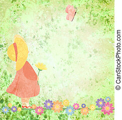 girl in pink dress and yellow hat with flowers and butterfly on green grunge background