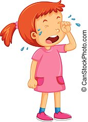 Girl in pink dress crying