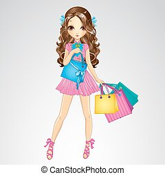 Girl In Pink Dress Do Shopping - Fashion beauty brunette...