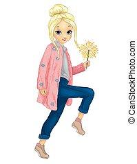 Girl In Pink Fur Holds Sparkler
