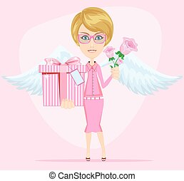 Girl in pink gives flowers and gift, vector illustration