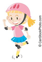 Girl in pink helmet rollerskating illustration