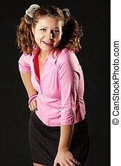 Girl in pink shirt