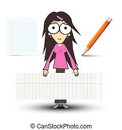 Girl in Pink Shirt with Empty Paper Sheets and Pencil Isolated on White Background