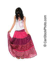 Girl in pink skirt - Young stylish brunette in pink skirt....
