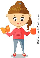 Girl in Pink Sweater. Cute With Cup And Book.