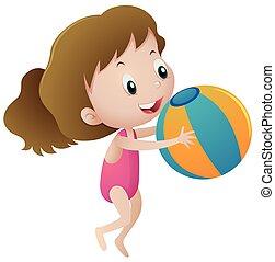 Girl in pink swimmingsuit holding ball