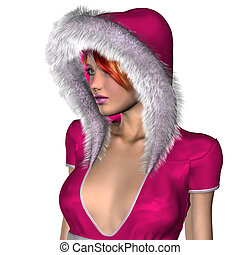 Girl in pink winter outfit