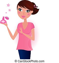 Girl in pink with perfume bottle - Happy young woman with...