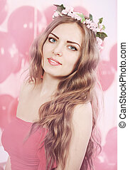 girl in pink wreath, tinted - Beautiful long-haired woman in...