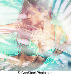 girl in pool portrait summer vibes double exposure