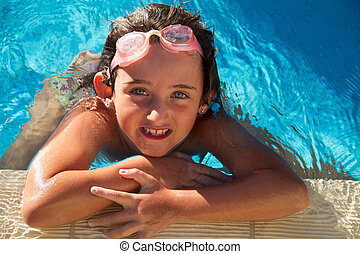 Girl in pool - Young girl in the pool.