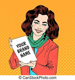 Girl in Pop Art Style Holding Banner for Your Text or Logo