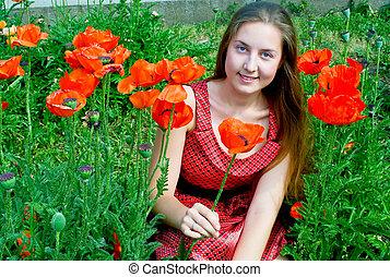 girl in poppies field