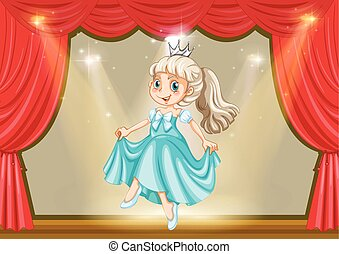 Girl in princess costume on stage