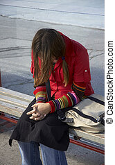 girl in problems - teeny girl in depression