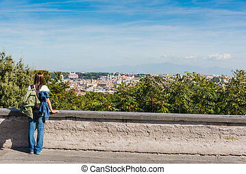 Girl in Promenade of the Janiculum in Rome, Italy
