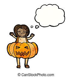 girl in pumpkin costume cartoon
