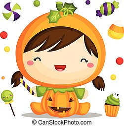 Girl in Pumpkin Costume