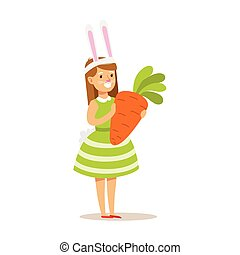 Girl In Rabbit Costume Holding Giant Carrot, Children In Costume Party Illustration With Happy Smiling Kid At Festival Celebration