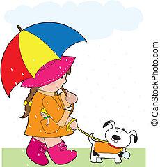Girl in Rain - A little girl walking her dog in the rain and...