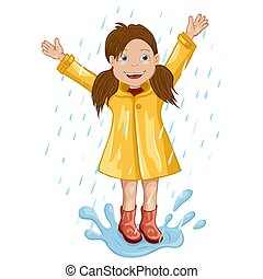 Girl in raincoat jumping and playing in the rain.