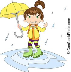 Girl in raining with umbrella