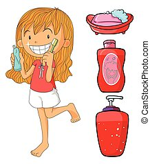 Girl in red brushing teeth