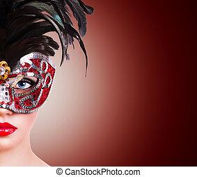 Girl in red carnival mask