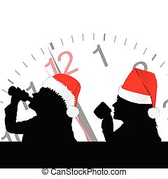 girl in red christmas hat drinking vector illustration