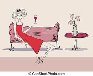 Girl in red dress at the party with a drink