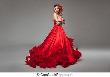 Girl in red dress.