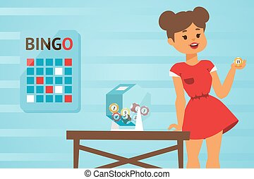 Girl in red dress hosts bingo game, vector illustration. Young woman picking lucky number of lottery ball. Pretty girl cartoon character playing bingo. Entertainment event