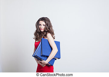 girl in red dress Manager with folders