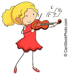 Girl in red dress playing violin