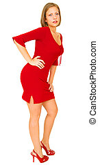 Girl In Red Dress Posing