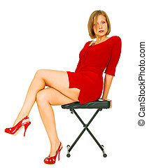 Girl In Red Dress Relaxing On Chair