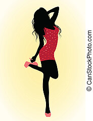 Girl in red dress - Vector illustrationof a girl in red...