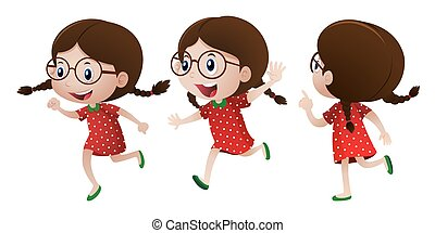 Girl in red dress with happy face