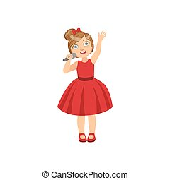 Girl In Red Dress With The Microphone