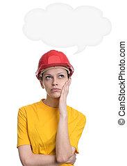 girl in red hard helmet daydreaming