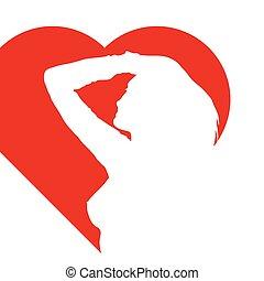 girl in red heart illustration