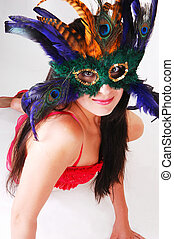 Girl in red lingerie with mask.