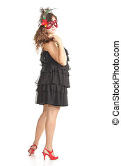 Girl in red mask