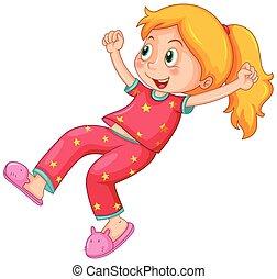 Girl in red pajamas illustration