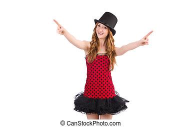 Girl in red polka-dot dress isolated on white